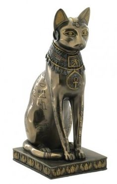 cat, egyptian, solid, statue, sleek, smooth, bronze
