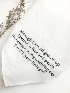 This handkerchief is for your mother or father on your wedding day. Let them have something memorable to wipe away happy tears. :)  ▴ ▴ ▴ ▴ ▴ ▴ ▴ ▴  - Handkerchief measures 12 x12 and is 100% white cotton.  - Your text is HAND EMBROIDERED with quality DMC thread.  - Thread color is black, unless otherwise requested.  - Date and name can be added for no additional charge.   SHIPMENT + DELIVERY ▴ ▴ ▴ ▴ ▴ ▴ ▴ ▴▴ ▴ ▴ ▴ ▴ ▴  ▴ Your handkerchief is wrapped up carefully with lots of love. PLEASE…