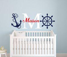 Nautical Name Wall Decal Little Sailor Room Decor Custom Baby