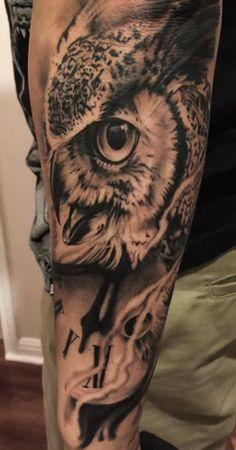 Owl tattoo by Tye Harris