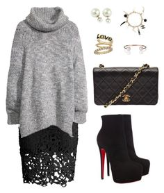"""""""475"""" by julialeskiv ❤ liked on Polyvore featuring Chicwish, H&M, Christian Louboutin, Chanel and Letters By Zoe"""