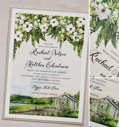 One of our favorite Pippen Hill Farm and Vineyard invites... crisp white blooms and lush green foliage!  #momentaldesigns  #kristyrice  #handpaintedinvite  #watercolorwedding  #artisticinvite  #vineyardinvite