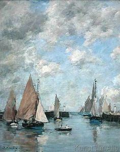The Jetty at High Tide Trouville by Eugene Louis Boudin Art Print on Canvas Magnolia Box Size: Extra Large Monet, Painting Frames, Painting Prints, Eugene Boudin, Canvas Art, Canvas Prints, Big Canvas, Photo Canvas, Honfleur