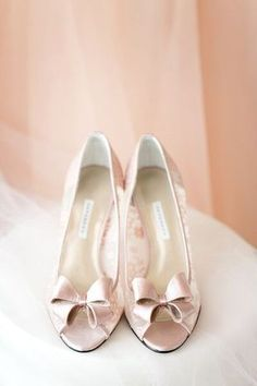 14 Ways to Use Pantone's Colors of the Year 2016 - Rose Quartz and Serenity - In Your Wedding: Rose quartz-colored satin bridal shoes {Katelyn James Photography}