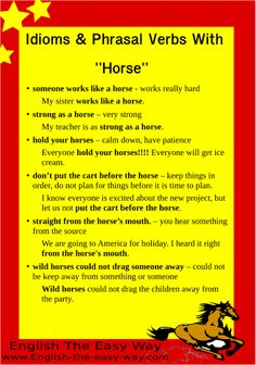 'Horse' in idioms and phrasal verbs.