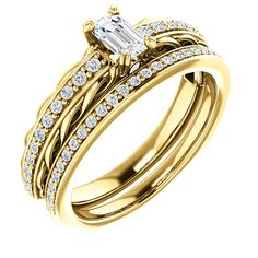 10kt Yellow Gold 5x3mm Center Emerald Genuine Diamond or 2 Accent Round Diamond and 22 Accent Round Diamonds Bridal Ring Set...(ST122066:216:P).! Price: $929.99 #diamonds #yellowgold #bridalringset #gold #weddinggift