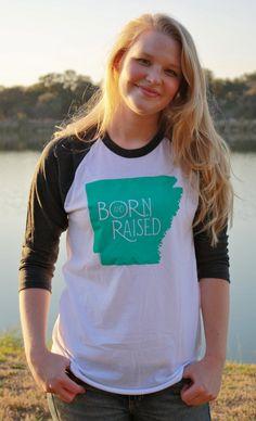 ARKANSAS Born & Raised State Tshirt, Home Pride, Proud Native T Shirt, via Etsy.