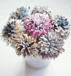 Virágcsokor magazinokból - újságpapír virágok