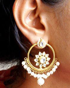 Mini Kundan Chand Bali Earrings whitegoldMAE381e