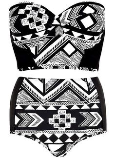 Aztec High Waist #Bikini #Set