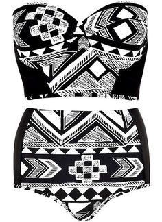 Aztec High Waist Bikini Set