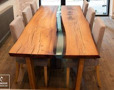 Wood dining table | Wood epoxy table | Table with live edge | Rustic table | Slab table | Dining table legs wood | Reclaimed wood table #ad