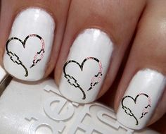 """#SALE #NAILS #COUPON Code """"PINTEREST""""  Saves You 15% Off  50 pc Camo DBL Chevy Heart His N Hers Bowties Nail Decals Nail Art Nail Stickers Best Price NC521"""