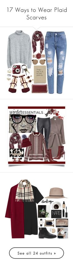 """""""17 Ways to Wear Plaid Scarves"""" by polyvore-editorial ❤ liked on Polyvore featuring plaidscarf, waystowear, Topshop, MANGO, Sole Society, Nine West, CB2, Polaroid, Valentino and White House Black Market"""