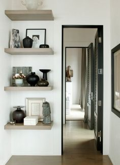 cantilevered floating shelves by Brad Dunning