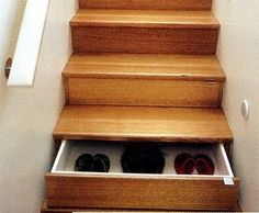 Secret cubby for shoes in staircase..love this!