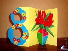 Cards for Women's Day on March – Preschool Team Forum Site -… – DIY Easy Flower Crafts Kids, Spring Crafts For Kids, Mothers Day Crafts For Kids, Mothers Day Cards, Diy For Kids, Kirigami Templates, Art Drawings For Kids, Mother's Day Diy, 8th Of March