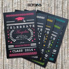 Custom Chevron & Chalkboard Double-Sided College Graduation Invitation/Announcement 5x7 on Etsy, $15.00