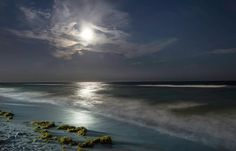 Fine Art Print  Super Moon Ocean Waves Night by photographybyVena, $31.00