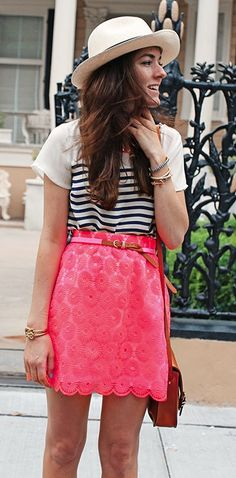 Preppy pink lace skirt + nautical striped shirt + hat