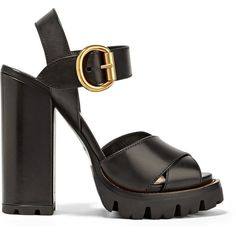 Prada Leather platform sandals ($805) ❤ liked on Polyvore featuring shoes, sandals, platform sandals, black chunky sandals, ankle strap sandals, buckle sandals and chunky-heel sandals