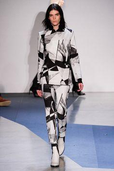 Helmut Lang New York Fashion Week Fall 13 - Monochrome geometric suit & white boots-CUBISM