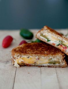 Guilty of popping way too many cream cheese-stuffed jalapeños? We're thinking it could be all too easy to overindulge in this grilled cheese rendition of the game day favorite. Get the recipe at bsinthekitchen.com   - Delish.com