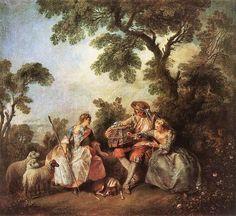 1800s Nicolas Lancret (English artist, 1690-1743) The Bird Cage