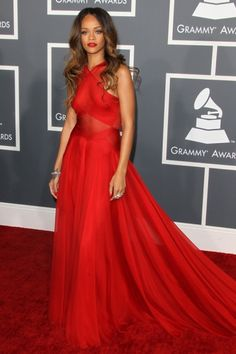 Rihanna arrives at the 55th Annual Grammy Awards at the Staples Center in Los Angeles, CA