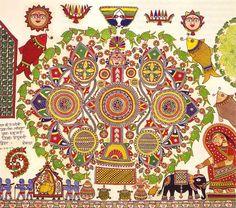 Riding the Rollercoaster with Ganga Devi - 50 Watts Madhubani Art, Madhubani Painting, Mandala Painting, Mandala Art, Mural Painting, Craft Museum, Mandala Meditation, Indian Folk Art, Indian Ethnic