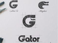 GATOR ( Letter G + Aligator ) designed by Garagephic Studio. Connect with them on Dribbble; the global community for designers and creative professionals. Negative Space Logos, Logo Sketches, Logo Creation, Typographic Logo, Creative Logo, Creative People, Lettering Design, G Logo Design, Monogram Logo