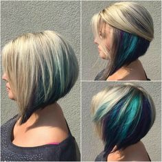 Hidden blue color pop in blonde swing bob