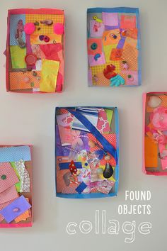 Children collect small things and scraps of material from around the house to make a shadow-box collage.