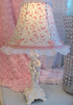 "7"" #Chic #lampshade w R Aswell Posey #Shabby Fabric Custom   eBay @ www.shabbyshades.com"