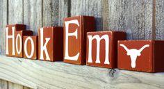 Hook Em Blocks  Longhorns  College  UT  Custom  Texas  by kr112234, $4.50