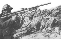 A French soldier armed with a Chauchat light machine gun. The Chauchat entered service in August and although it gained an unfairly poor reputation in American service at the end of the war, it provided French troops with a useful automatic weapon. World War One, First World, Old World, Light Machine Gun, Dieselpunk, Wwi, France, Troops, American