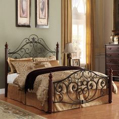 Iron Bed Frame Full with Queen Size Duvet Cover Using Antique Print Fabric Below Dark Brown Throw Blanket Alongside Bedroom Storage Cabinets also Metal Bed Frames