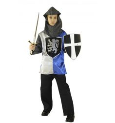 Prend ton épée et part affronter Légendes et Dragons... Déguisement CHEVALIER Luxe comprenant cagoule maille, tunique, pantalon, ceinture, épée, bouclier. Déguisement fabriqué en FRANCE. Présenté sous housse.  #lepanacheblanc