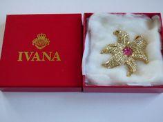 Vintage Ivana Trump Flower Brooch with Rhinestone Decoration | eBay