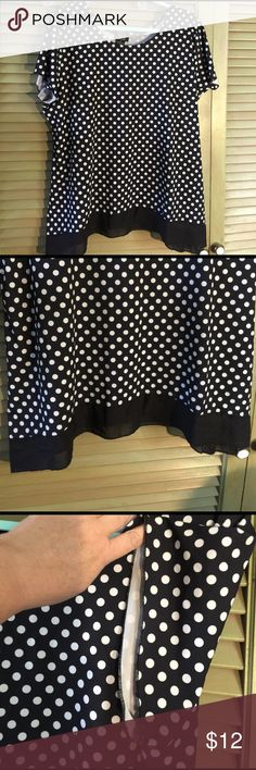Shannon Ford New York blouse Black and white polka dot blouse with black chiffon along the shark bite hem. 95% polyester 5% spandex with a really flattering fit. shannon Ford New York Tops Blouses