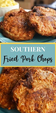 Southern Fried Pork Chops are sprinkled with seasoned salt, pepper & a little cayenne, if you want some spice, dredged in flour and pan fried until perfectly golden and delicious! This southern favorite is simple, but oh so scrumptious! Best Fried Pork Chops, Southern Fried Pork Chops, Baked Pork Chops, Fried Boneless Pork Chops, Pan Pork Chops, Pork Ribs, Easy Pork Chop Recipes, Pork Recipes, Recipies