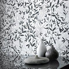 Bijou Black and White leaf design modern wallcovering: Black And White Leaves, Black And White Tiles, Black And White Design, Black White, White Leaf, Black Silver, Gothic Wallpaper, Cheap Wallpaper, Home Wallpaper