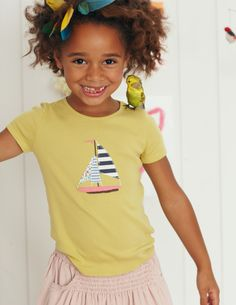 Seaside Appliqué T-shirt, mini boden