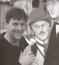 "lamprophonic: "" Oh you and your cardboard cut-out of Watson. "" See? He has his own cardboard Brett!Holmes with extra cardboard Burke!Watson. This is not fair."