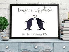Personalised wedding gift penguins von PinkMilkshakeDesigns
