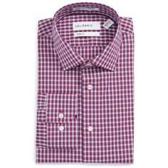 73d5cb4acd Men's Calibrate Trim Fit Stretch Non-Iron Check Dress Shirt (€63) ❤