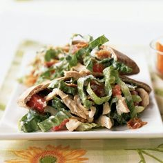 Smoky Bacon and Blue Cheese Chicken Salad Pitas Recipe ---Great picnic idea-- separate the different parts of the sandwich in containers and pack to go!