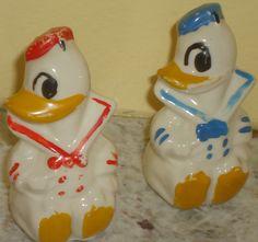 Vintage Disney Donald Duck salt/pepper shakers $40.00  www.jazzejunque.com
