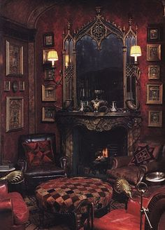 Amazing dark & red living room / parlour designed by Renzo Mongiardino .... period set inspiration