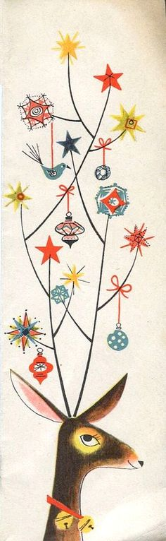Vintage Christmas Post Сard ~ Reindeer with stars, ornaments, and birds in its antlers.